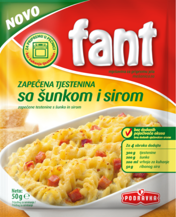 Fant baked pasta with ham and cheese