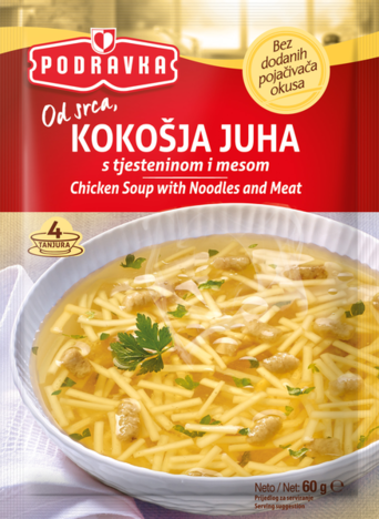 Chicken soup with noodles and meat